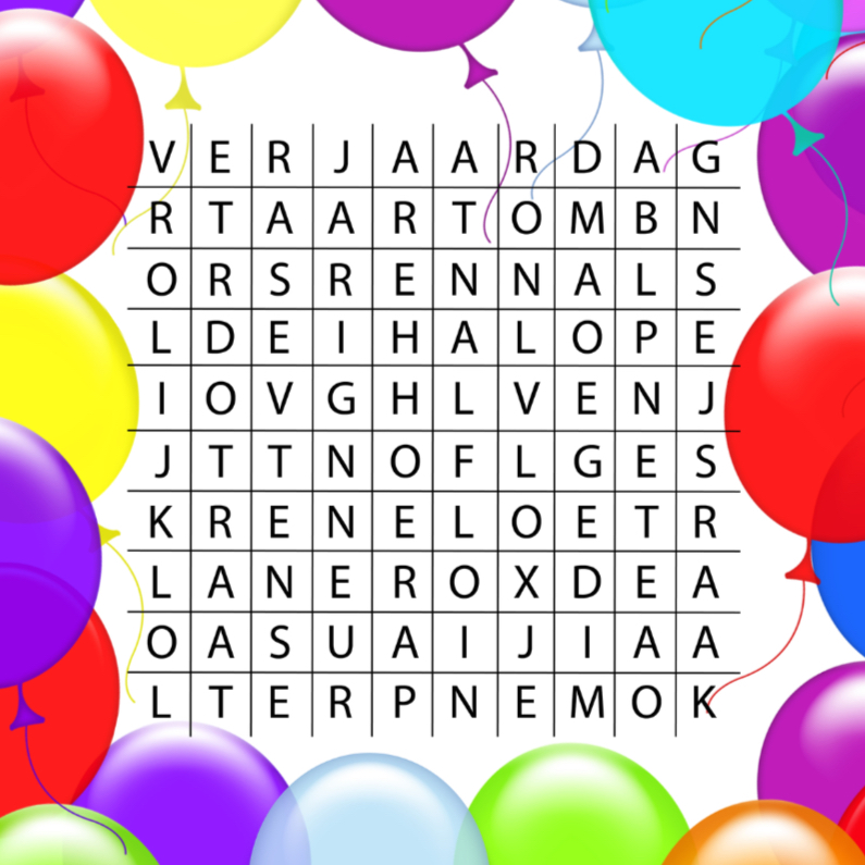 Verjaardagskaarten - woordzoeker verjaardagsfeest