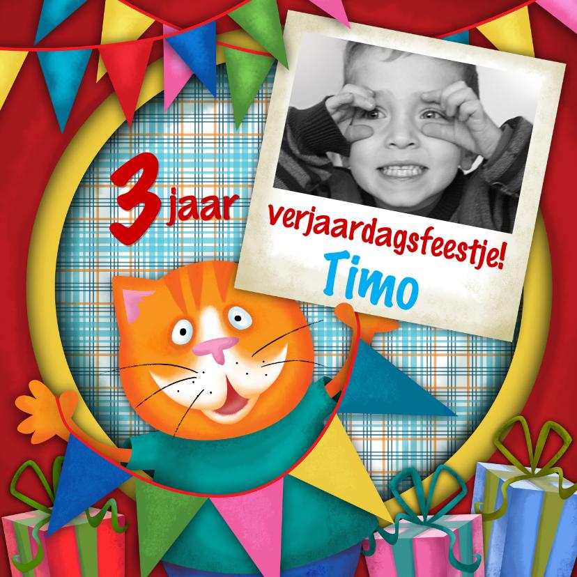 Verjaardagskaarten - YVON straat kat eigen foto verjaardag