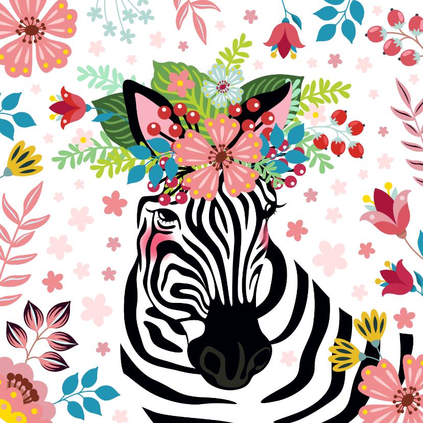 Verjaardagskaarten - Zebra met bloementooi verjaardagskaart
