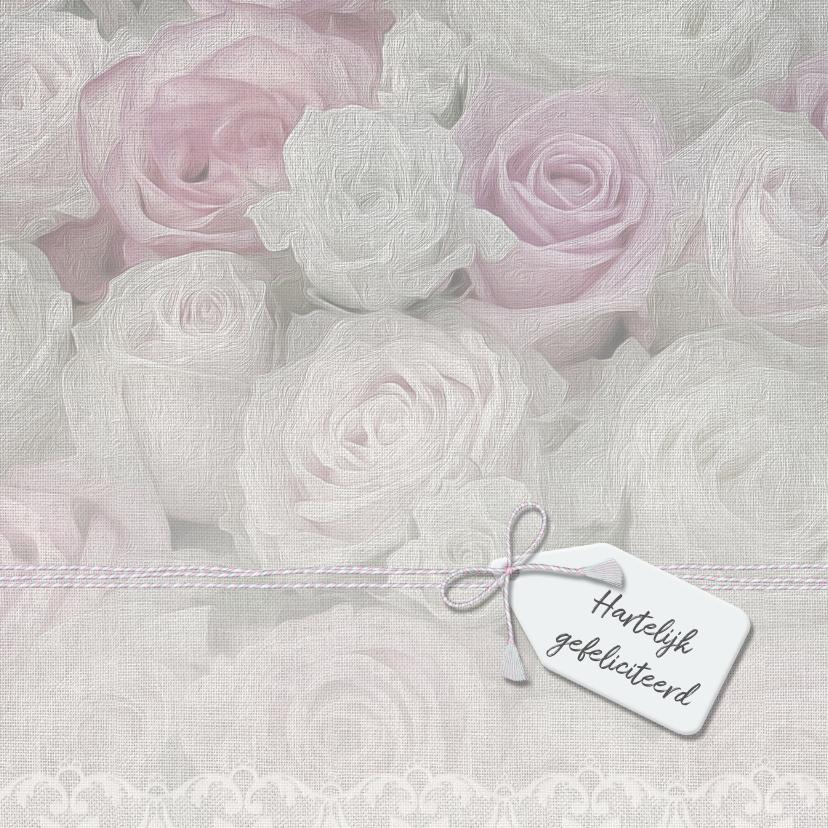 Verjaardagskaarten - Zeg het met rozen op linnen