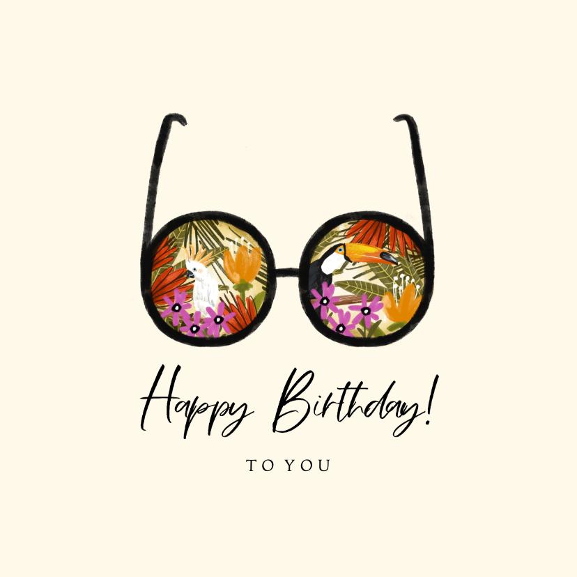 Verjaardagskaarten - Zomerse verjaardagskaart met tropische planten en vogels
