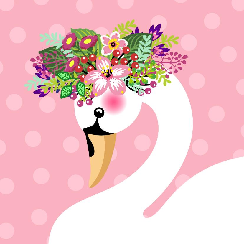 Verjaardagskaarten - Zwaan met bloementooi verjaardagskaart