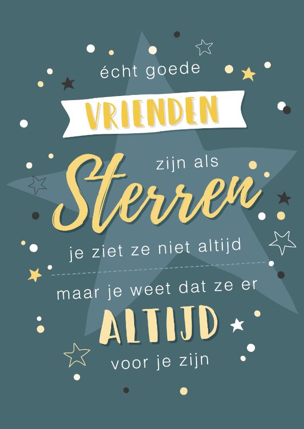 Vriendschap kaarten - Petrol blauwe kaart met quote over vriendschap en sterren.