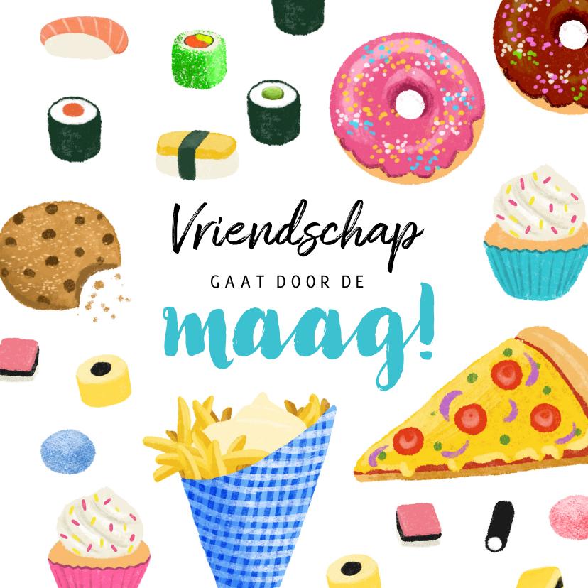 Vriendschap kaarten - Vriendschap kaart met lekker eten sushi donuts cupcakes