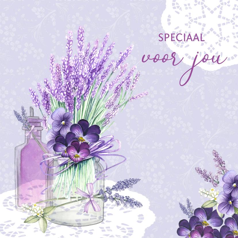 Vriendschap kaarten - Vriendschap lavendel in glas