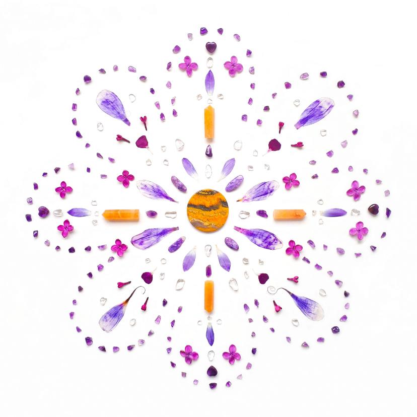 Vriendschap kaarten - Vriendschapskaart mandala met jaspis amethist en bloemen