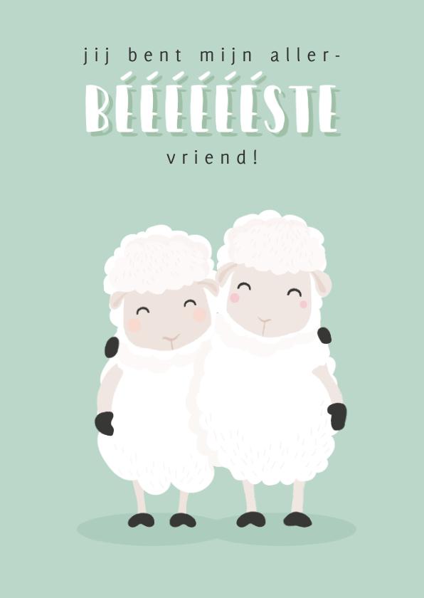 Vriendschap kaarten - Vriendschapskaart met grappige illustratie van 2 schapen.