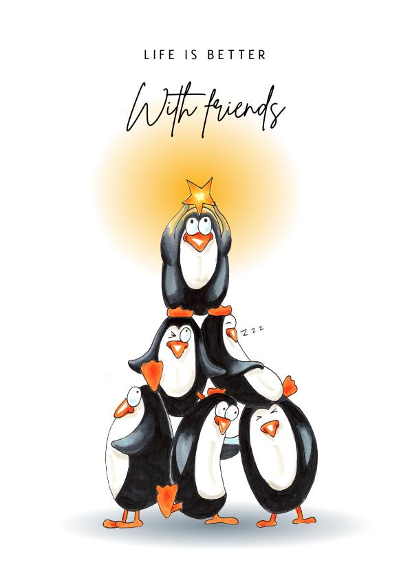 Vriendschap kaarten - Vriendschapskaart met stapel pinguïns