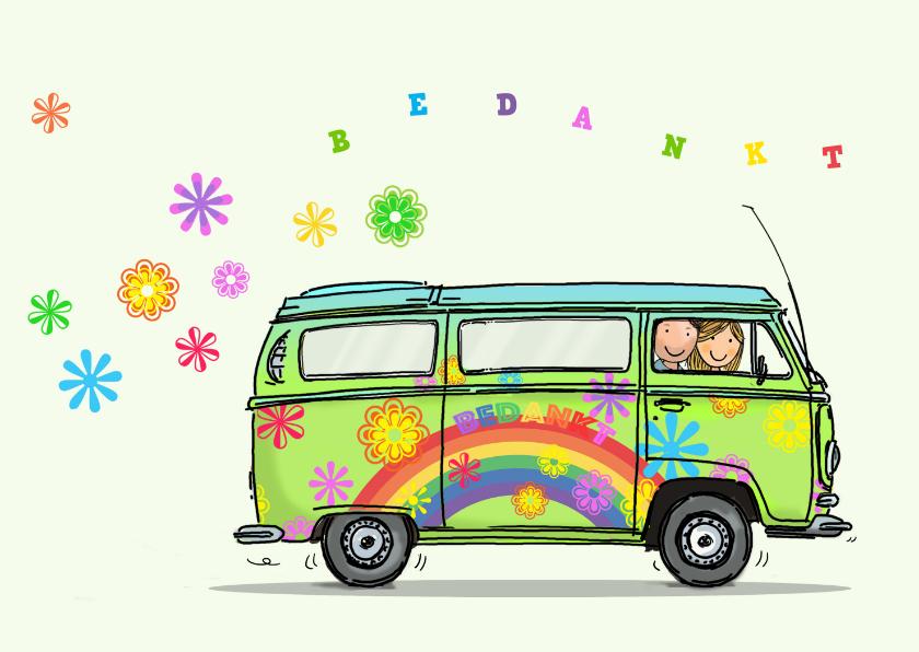 Vriendschap kaarten - VW bus kaart bloemen Anet Illustratie