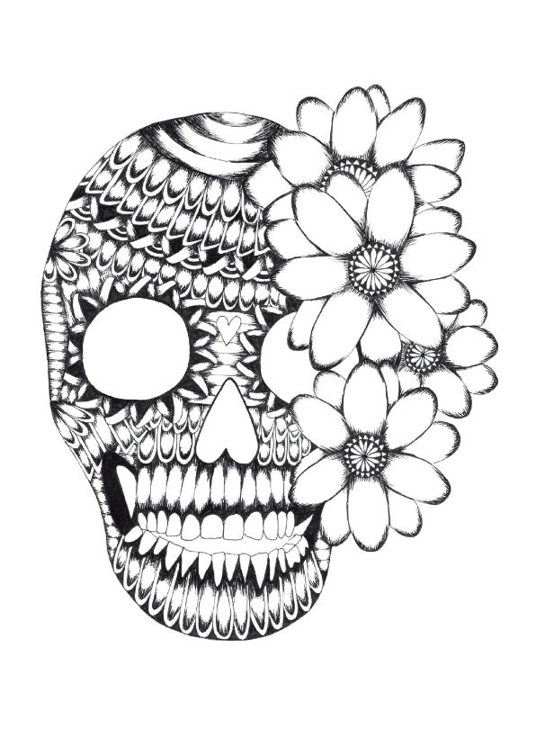 Woonkaarten - Doodskop zwart/wit illustratie