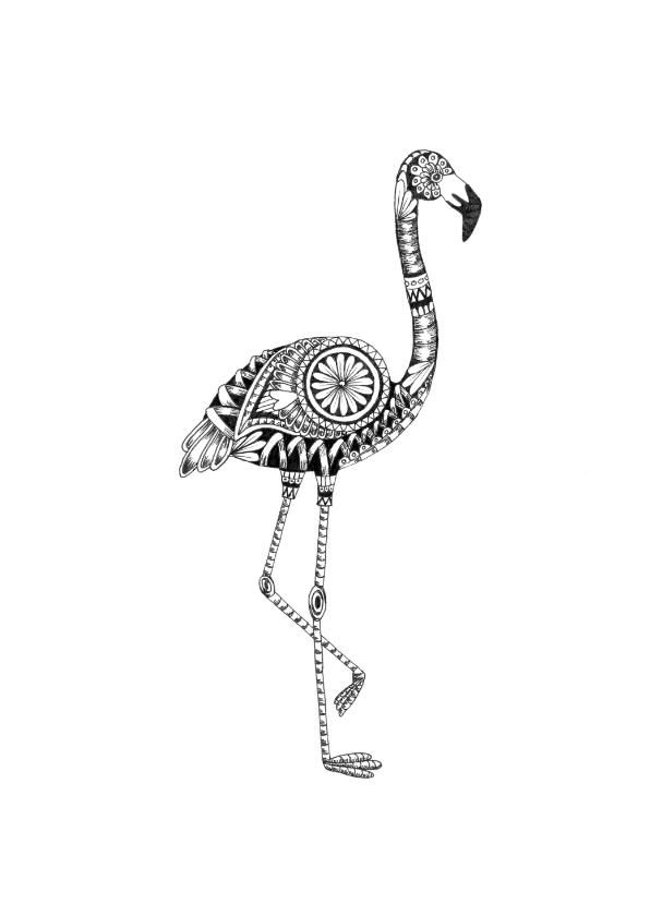 Woonkaarten - Flamingo zwart/wit illustratie