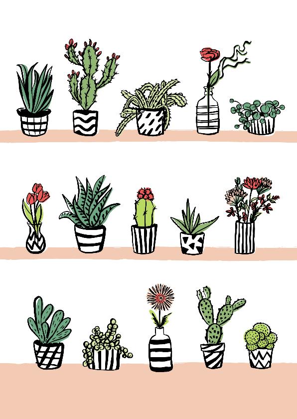 Woonkaarten - Fleurige kaart cactussen en bloemen