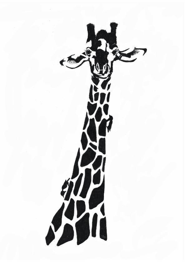 Woonkaarten - Giraffe illustratie zwart-wit