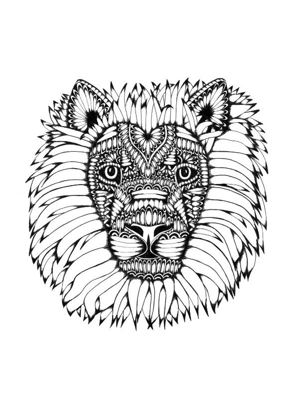 Woonkaarten - Leeuw zwart/wit illustratie Lion