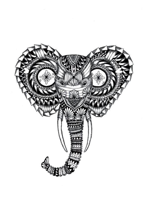 Woonkaarten - Olifant zwart/wit illustratie