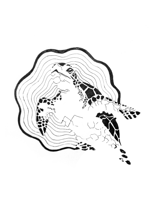 Woonkaarten - Orinele kaart met Schildpad illustratie zwart-wit