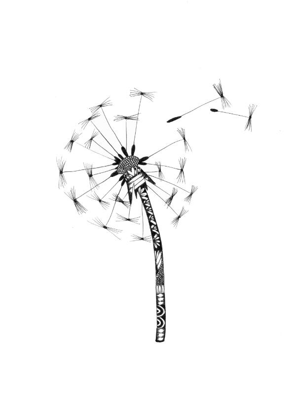 Woonkaarten - Paardebloem zwart/wit illustratie