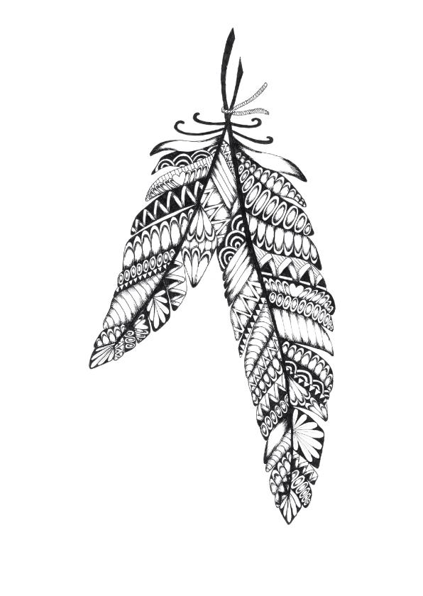 Woonkaarten - Veren zwart/wit illustratie