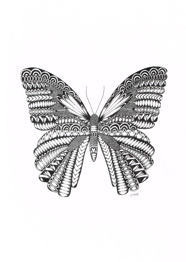Woonkaarten - Vlinder zwart/wit Illustratie