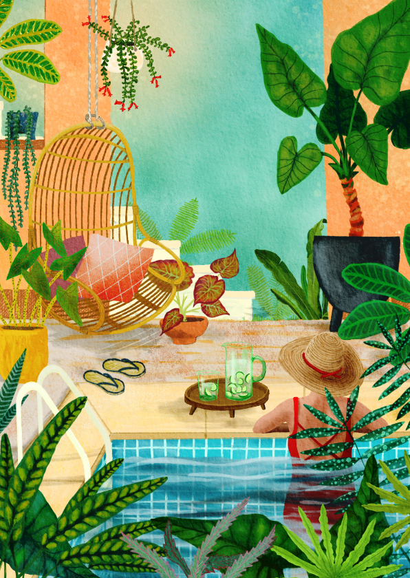 Woonkaarten - Vrouw relaxend in zwembad tussen de planten