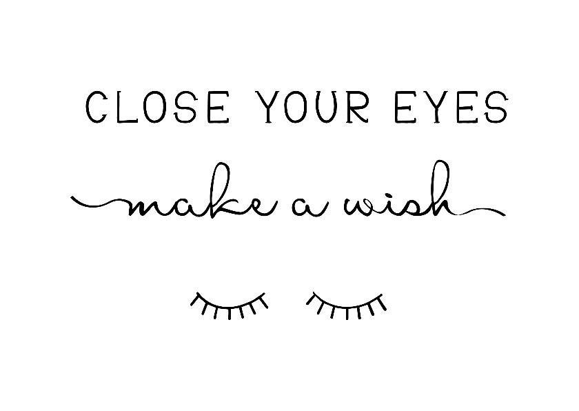 Woonkaarten - Woonkaart 'Make a wish' met wimpertjes