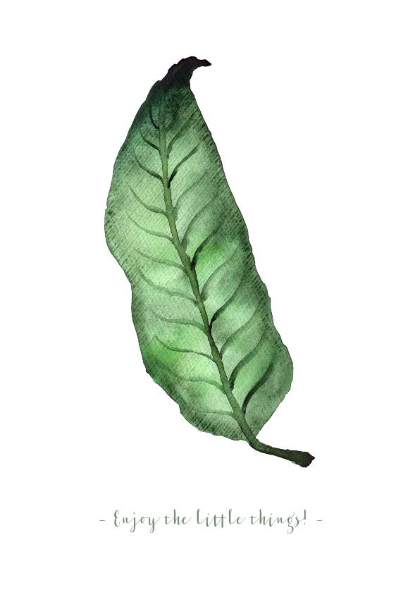 Woonkaarten - Woonkaart met botanisch blad en verwijderbare tekst