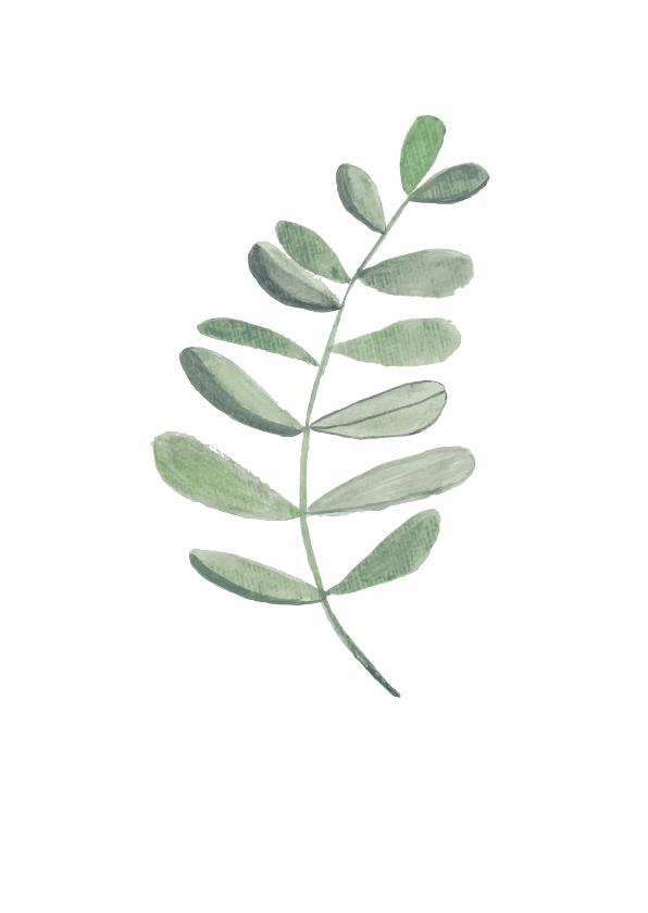 Woonkaarten - Woonkaart met een botanisch blad in waterverf