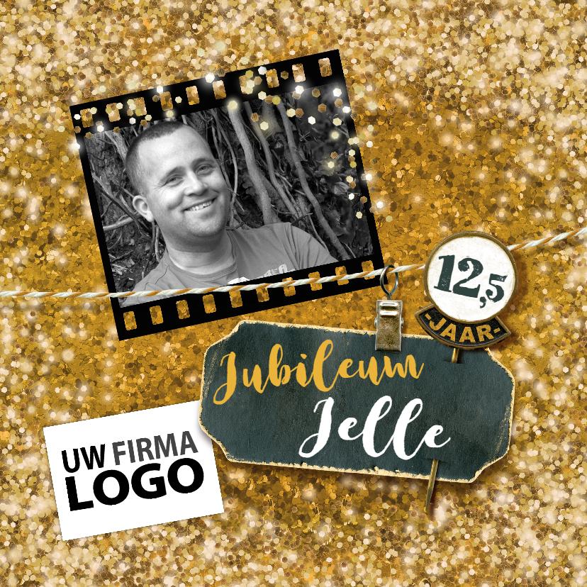 Zakelijke kaarten - Jubileum medewerker glitter goud vierkant met logo