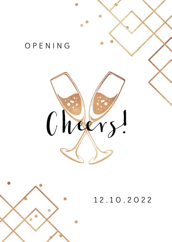 Zakelijke kaarten - Opening cheers champagne