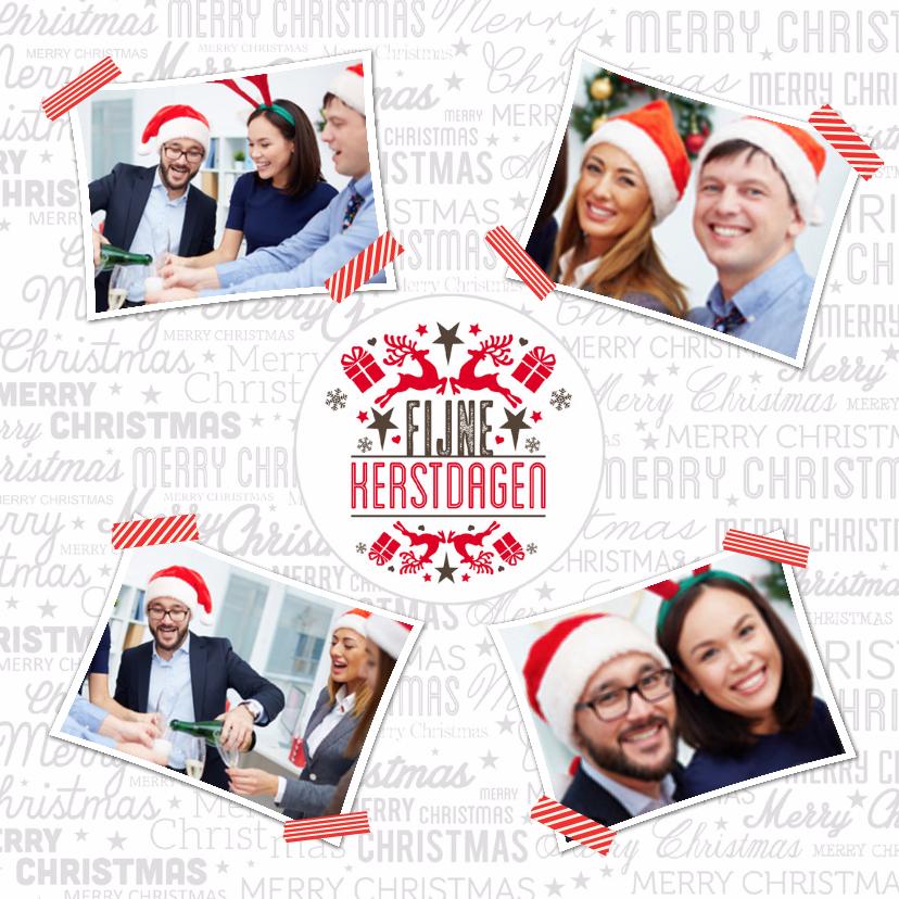 Zakelijke kerstkaarten -  Collagekaart wit 4 foto's - BK