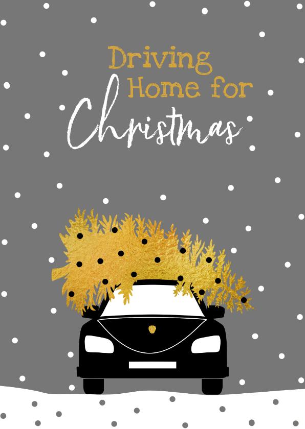 Zakelijke kerstkaarten - Driving Home For Christmas met boom en auto