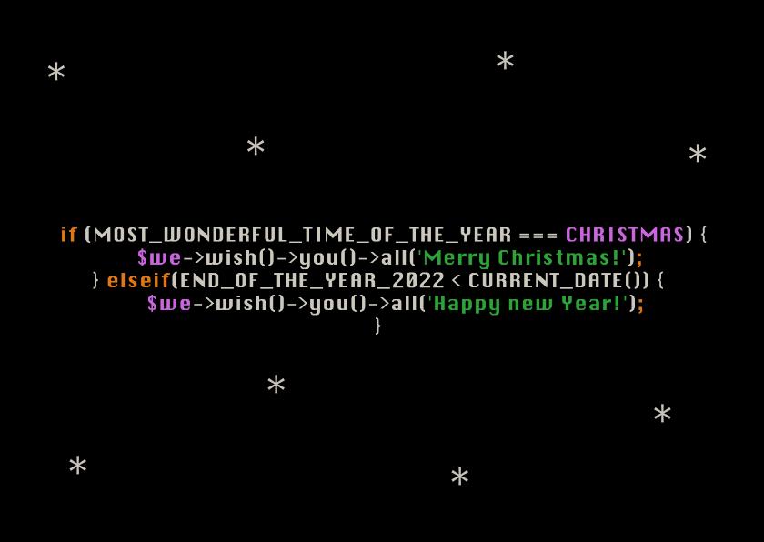 Zakelijke kerstkaarten - Grappige kerstkaart voor de ICT branch met kerst broncode