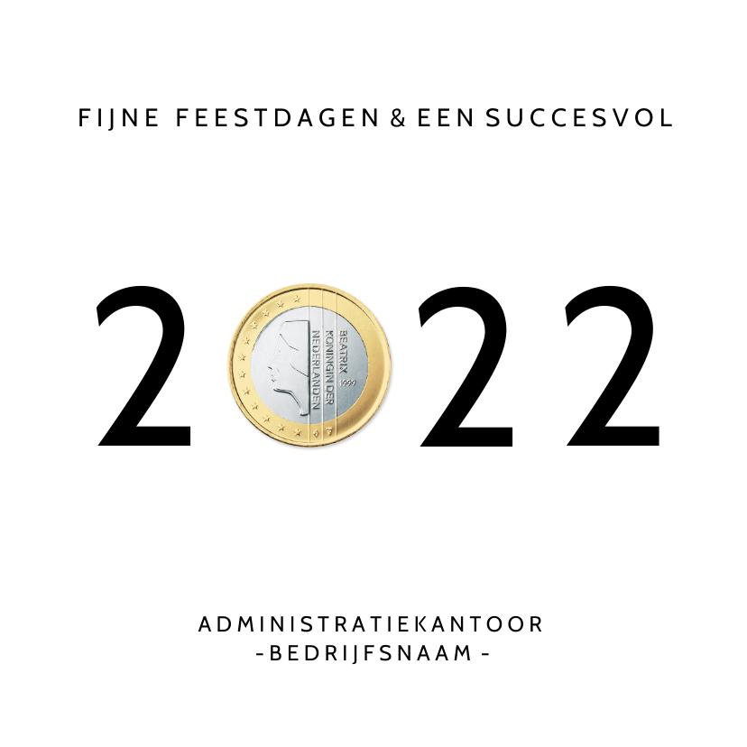Zakelijke kerstkaarten - Grappige zakelijke nieuwjaarskaart jaartal 2022 met euro
