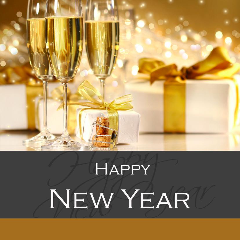 Zakelijke kerstkaarten - Happy New Year champagne