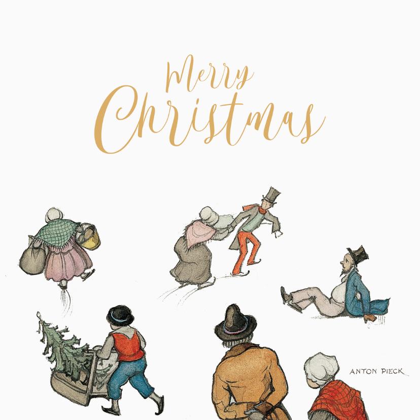 Zakelijke kerstkaarten - Kerkstkaart - Anton Pieck illustratie schaatsen