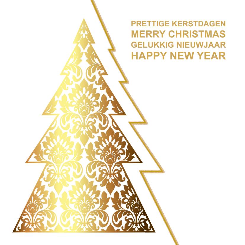 Zakelijke kerstkaarten - Kerskaart kerstboom goud op wit