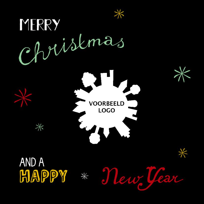 Zakelijke kerstkaarten - Kerst handlettering retro - HR