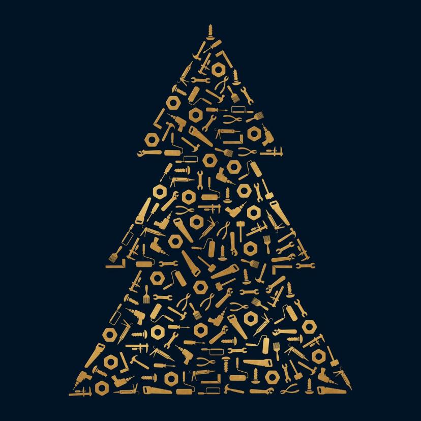 Zakelijke kerstkaarten - Kerstboom van gereedschap voor klusbedrijf