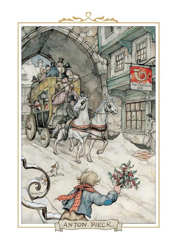 Zakelijke kerstkaarten - Kerstkaart - Anton Pieck illustratie postkoets