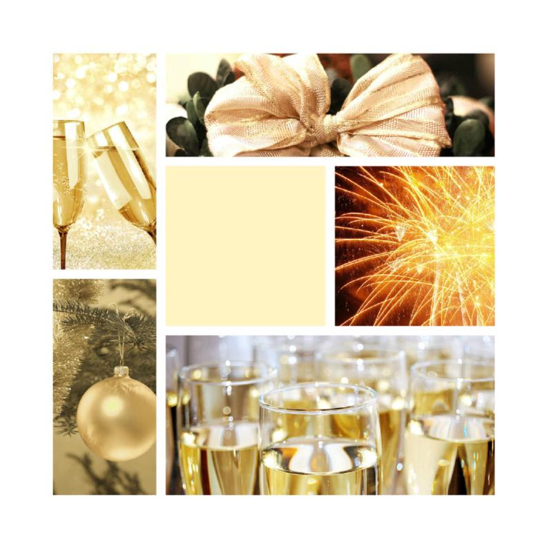 Zakelijke kerstkaarten - kerstkaart Champagne geel