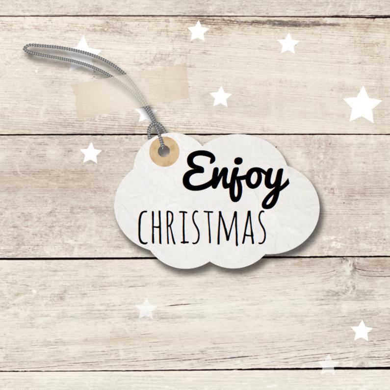 Zakelijke kerstkaarten - kerstkaart enjoy - hout