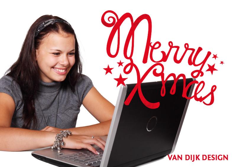 Zakelijke kerstkaarten - Kerstkaart foto tekst merry xmas
