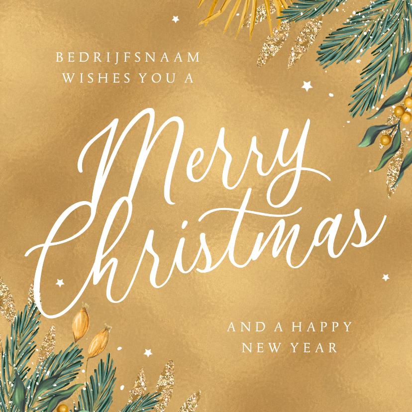 Zakelijke kerstkaarten - Kerstkaart goud merry christmas zakelijk