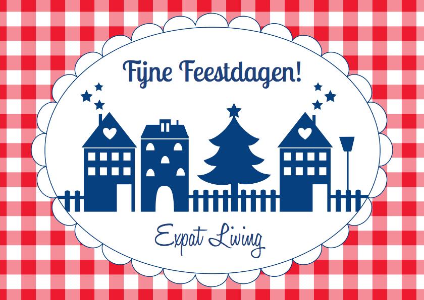 Zakelijke kerstkaarten - Kerstkaart huisjes blauw LB
