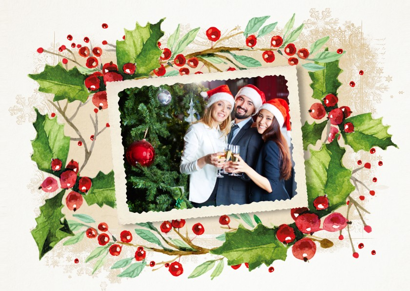 Zakelijke kerstkaarten - Kerstkaart hulst krans zakelijk
