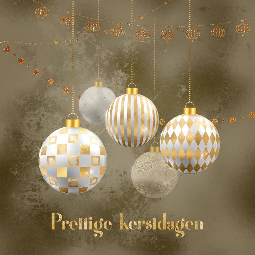 Zakelijke kerstkaarten - Kerstkaart kerstballen goud met wit op brons