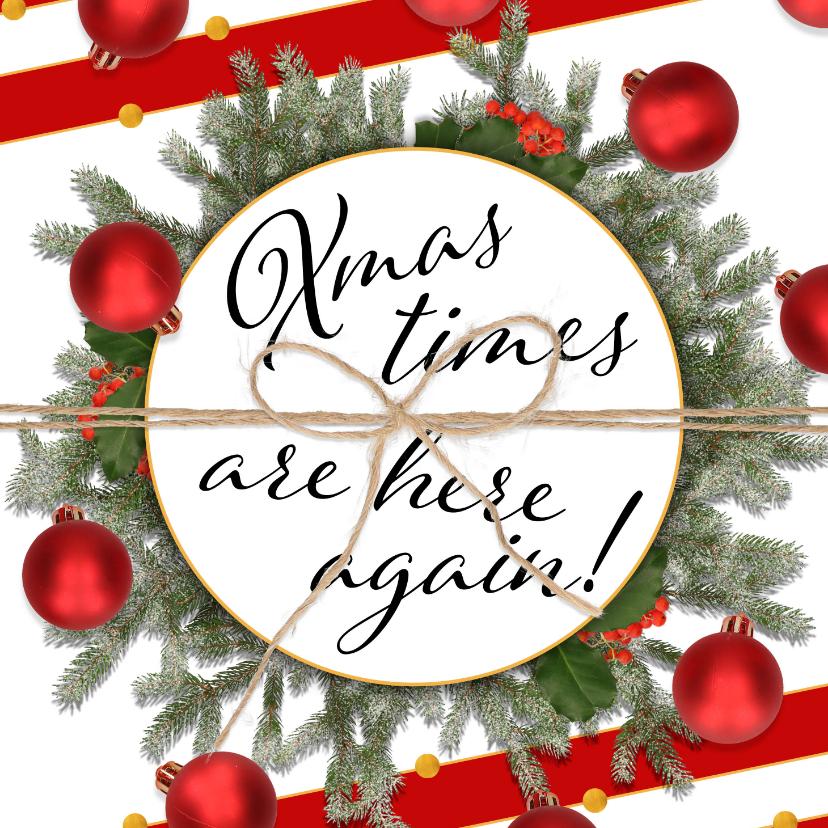 Zakelijke kerstkaarten - Kerstkaart klassiek en feestelijk rood
