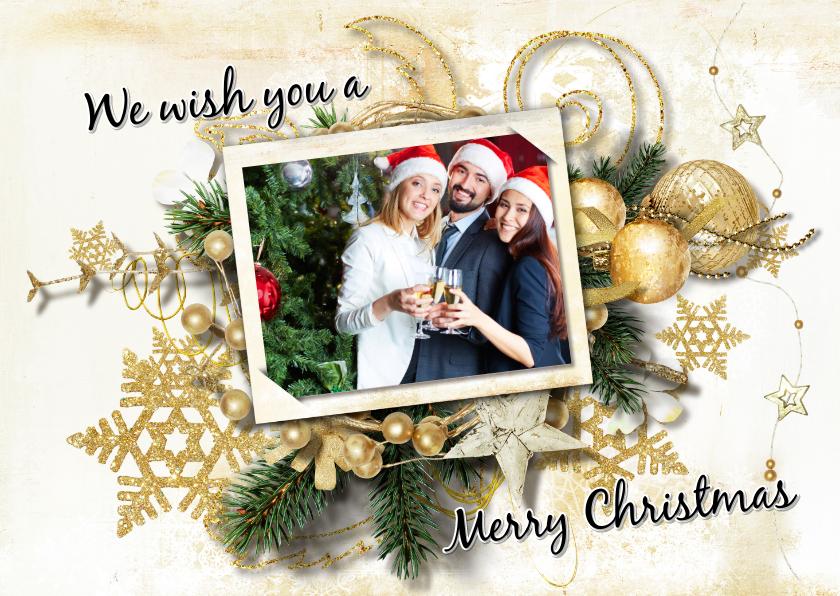 Zakelijke kerstkaarten - Kerstkaart klassiek kerststuk goud groen en foto