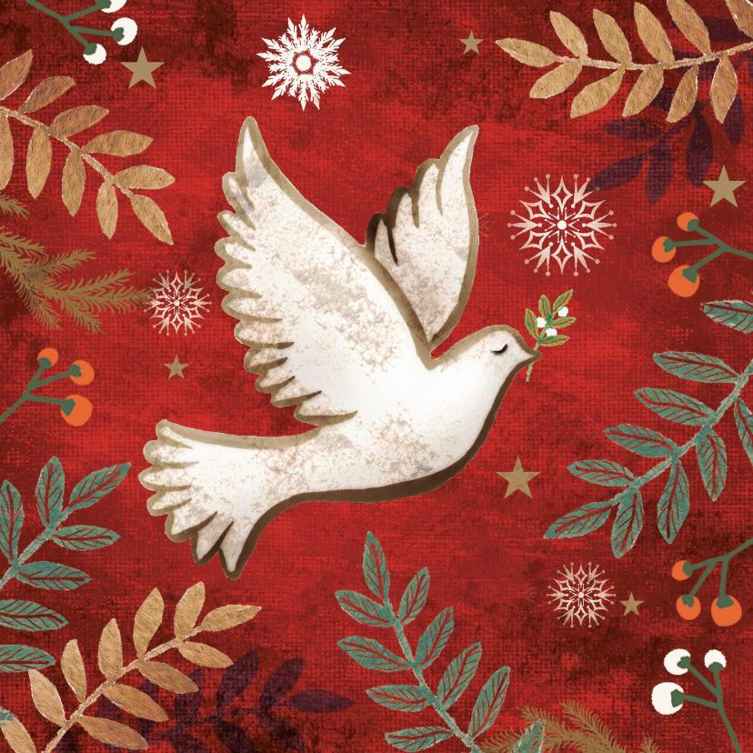 Zakelijke kerstkaarten - Kerstkaart met een vredesduif, rode achtergrond