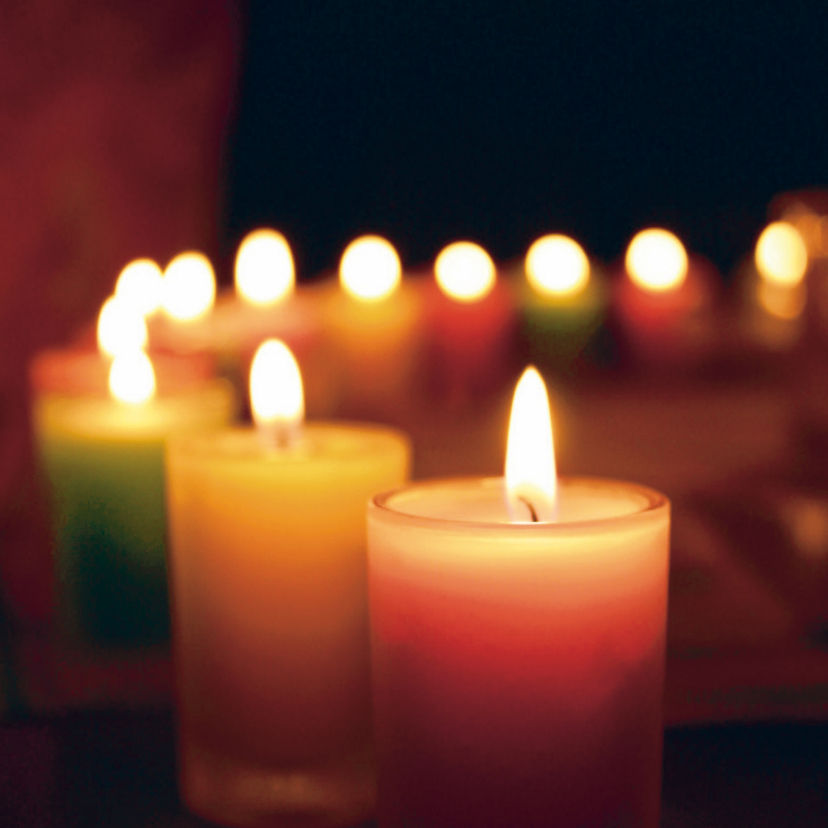 Zakelijke kerstkaarten - Kerstkaart met foto brandende kaarsen